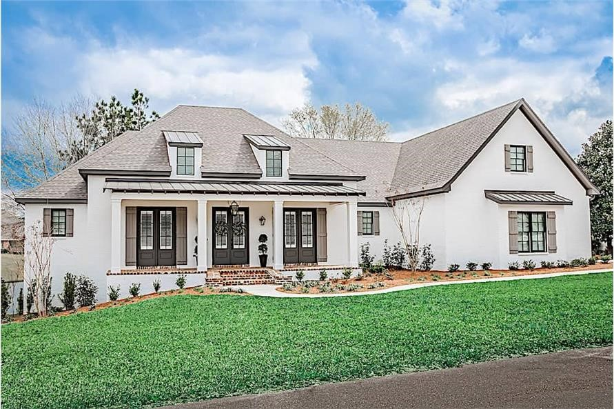 French style home with 1 story and three bedrooms designed for a crawlspace or slab foundation