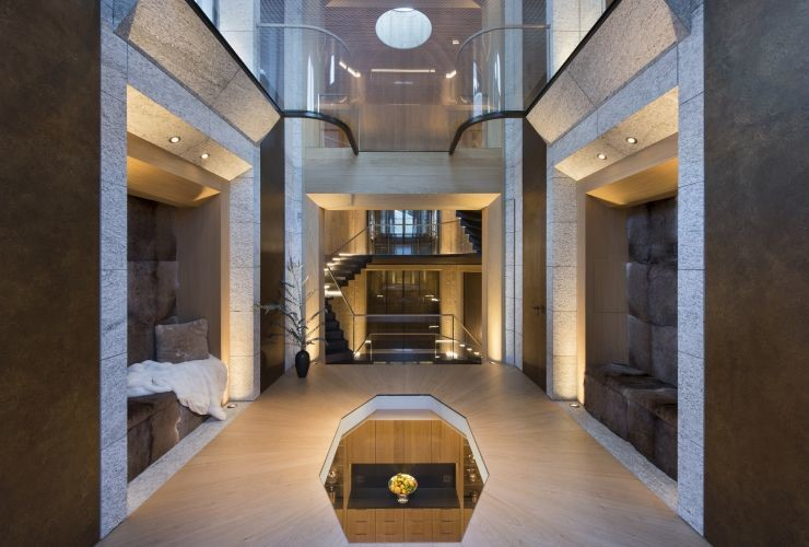 Luxurious and intriguing six-sided staircase  with no visible support beams
