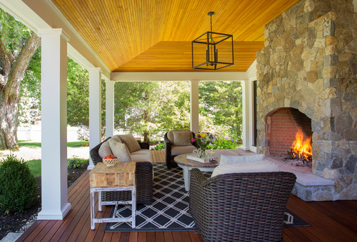 Porch with fireplace on Lynnfield, MA, farmhouse.