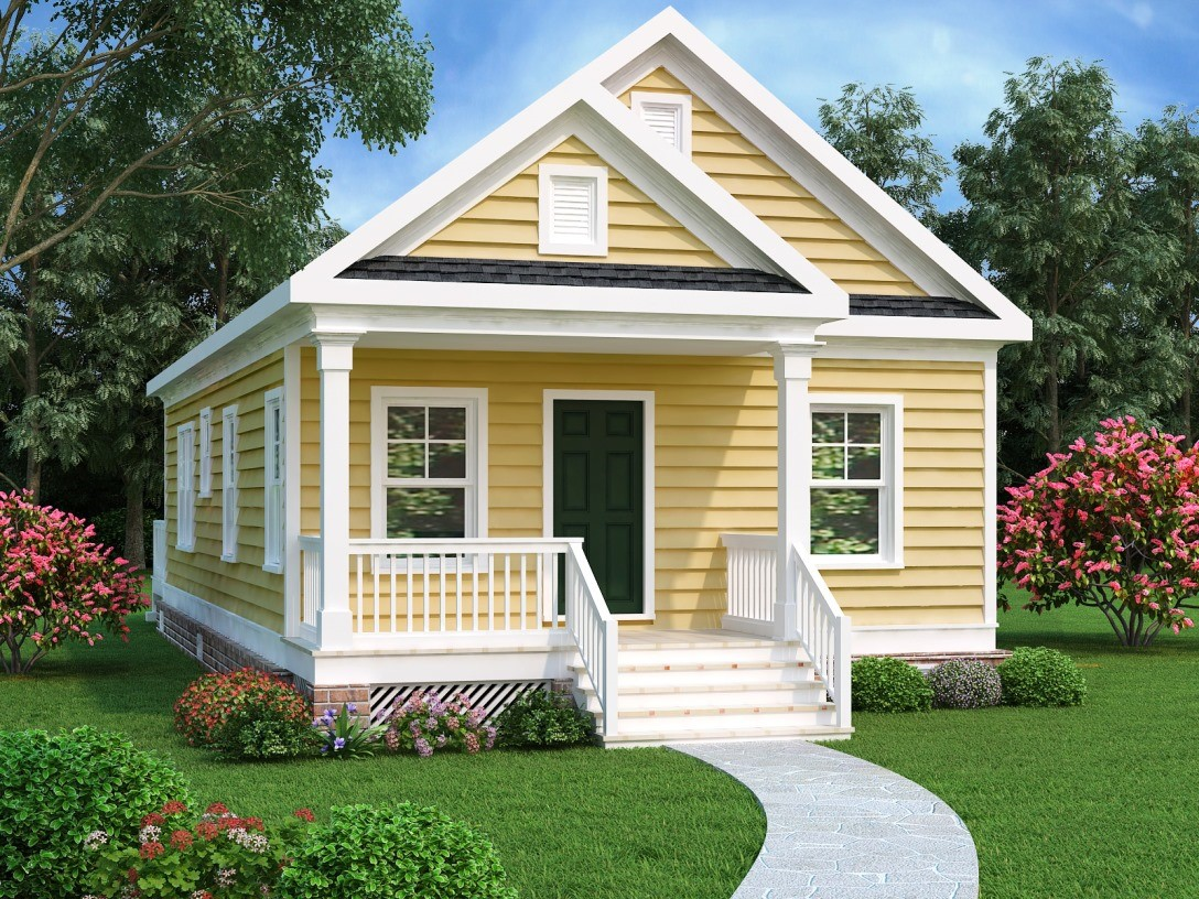 Yellow Bungalow style home with front porch