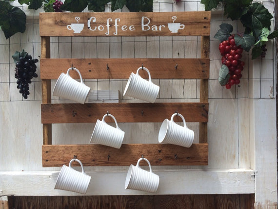 Coffee cup storage in kitchen