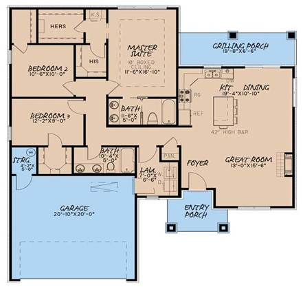 Floor plan of 1438-sq.-ft. Contemporary style home showing finished living areas in brown