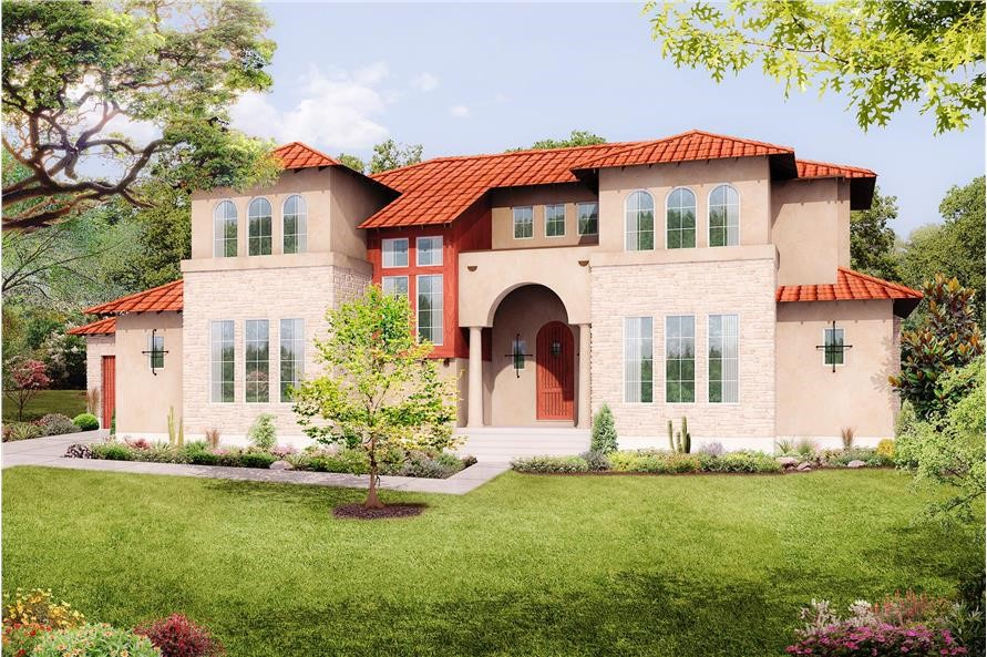 2-story, 3,585-square-foot Mediterranean home with Tuscan influences that features the typical rectangular shape of the Italianate style