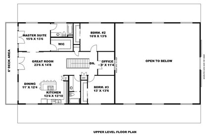 Upper-level floor plan of plan #132-1694 barn-style home
