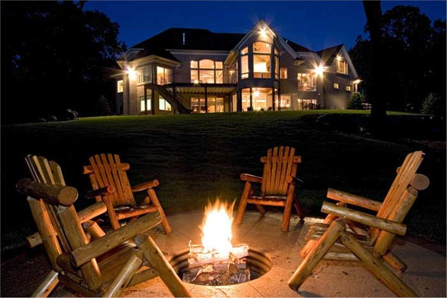 Fire pit in a 2-story, 5-bedroom luxury home