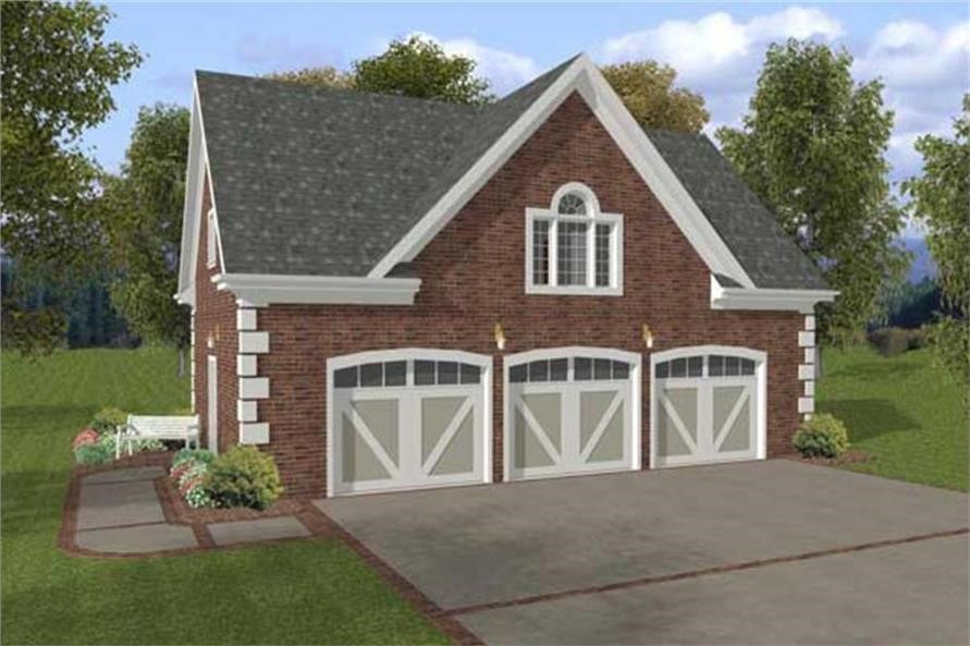 3-car garage with apartment house plan #109-1001