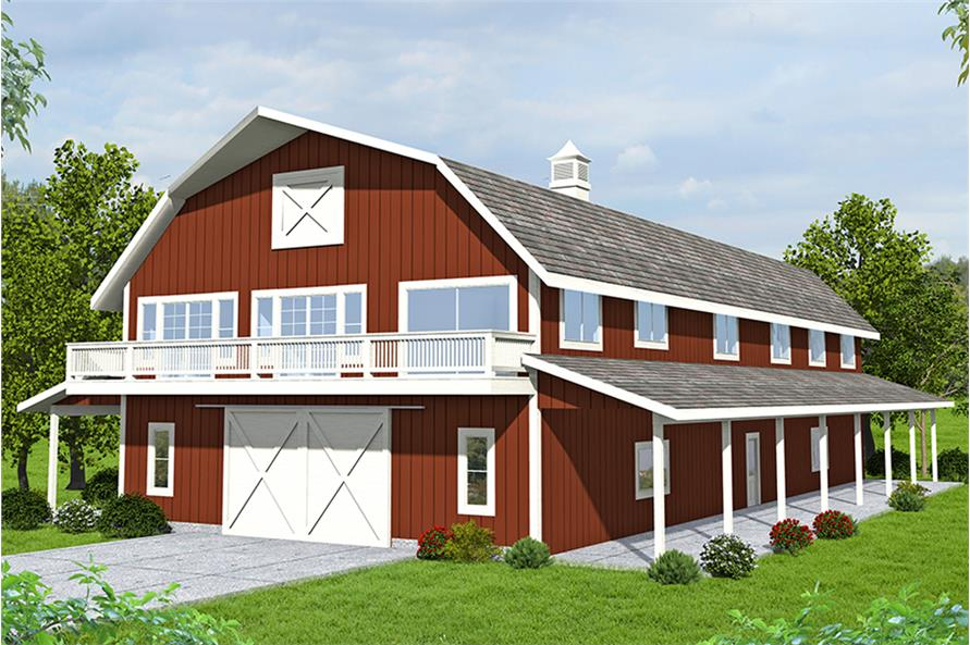 Red barn-like home with 3-car garage, 3 bedrooms, and 3 bathrooms