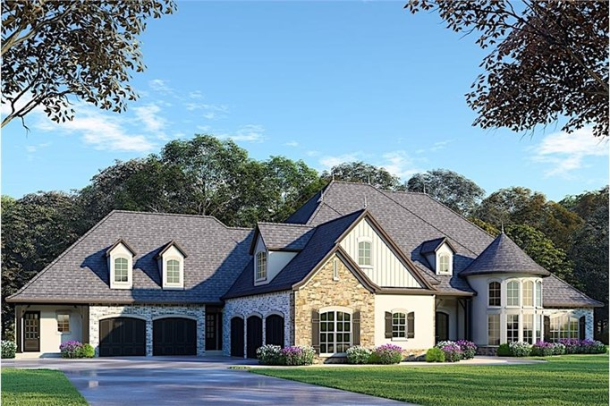 Beautiful home with steep hip roof, gable dormers, and brick and vertical wood siding