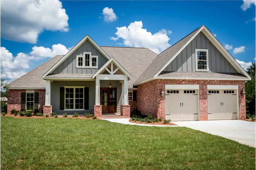 1-story 4-bedroom, 2,329-sq.-ft. Craftsman-style home with brick and wood siding
