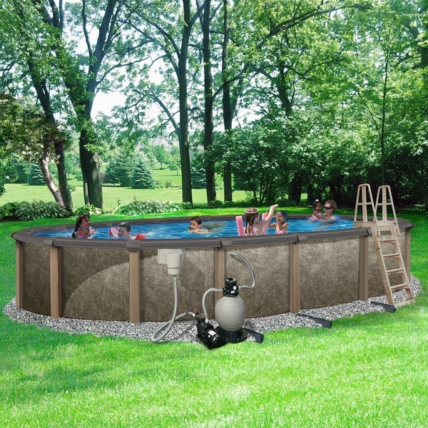 Aboveground pool in the backyard