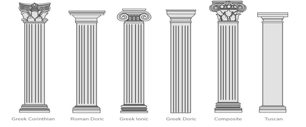 Illustrations of various kinds of classical Greek columns