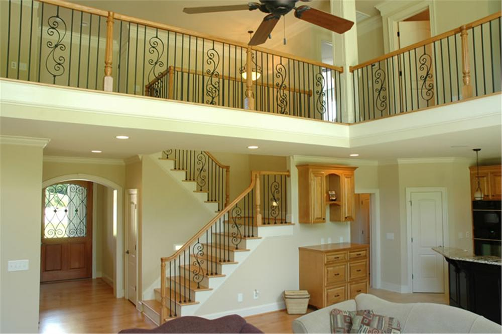Great room and balcony in home plan #120-2176