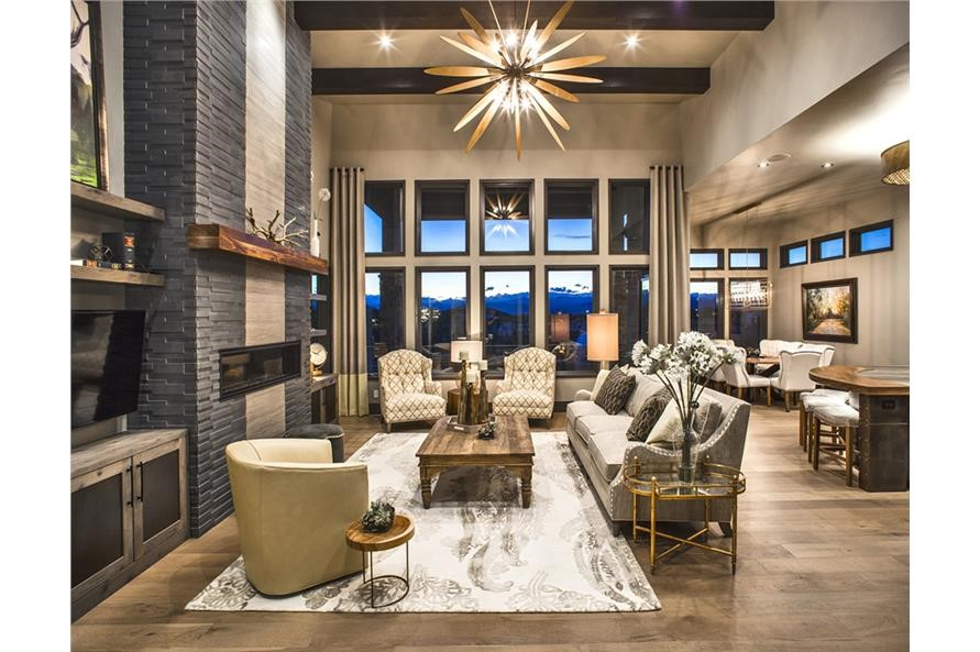 Great Room in a one-story, four-bedroom contemporary Prairie-style home