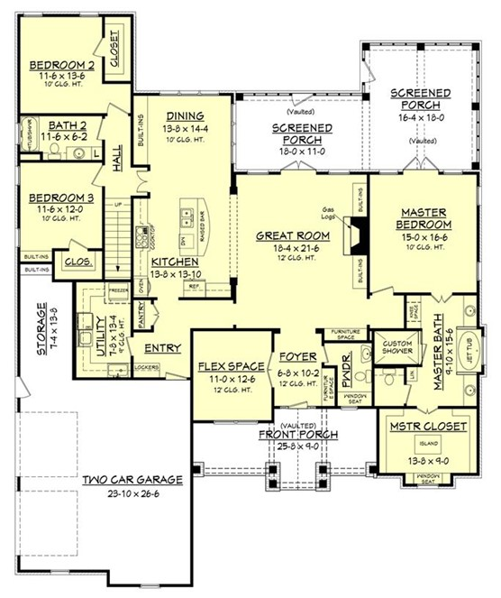 Main-level layout of 3-bedroom Country style plan #142-1168