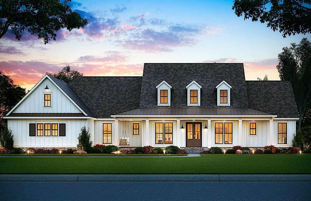 Ranch style home with steep roof, giving it the look of a two-story farmhouse