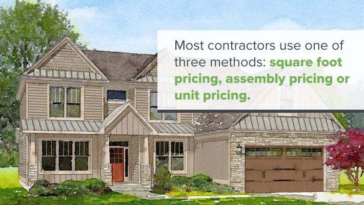 Traditional house with label explaining contractors' bid methods
