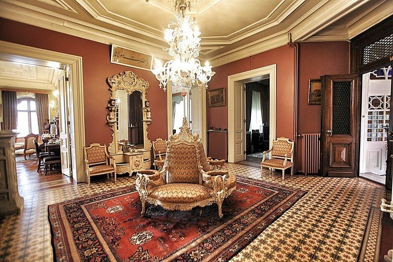 Interiors and original furnishings of the Istanbul mansion, including the chandelier and chairs