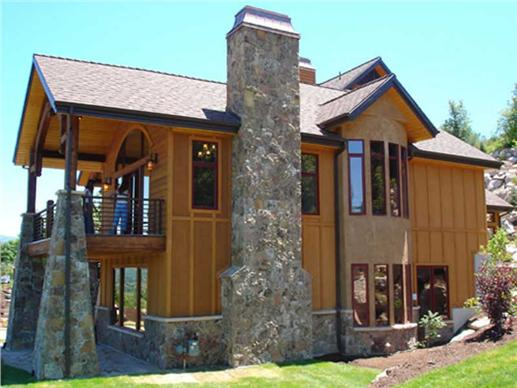 View of this Mountain home's decks and chimney