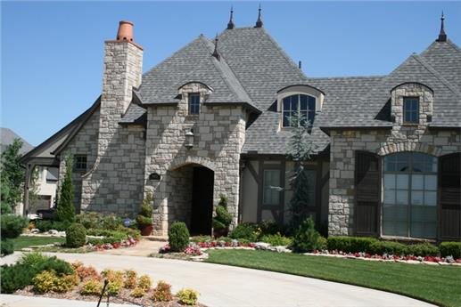 Two-story, four-bedroom castle-like home