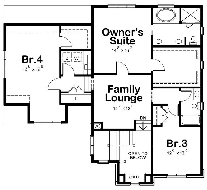 Upper-level floor plan of plan #120-2481 showing family lounge