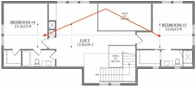 Upper level floor plan of home plan #161-1124 showing 2 mini-suites upstairs