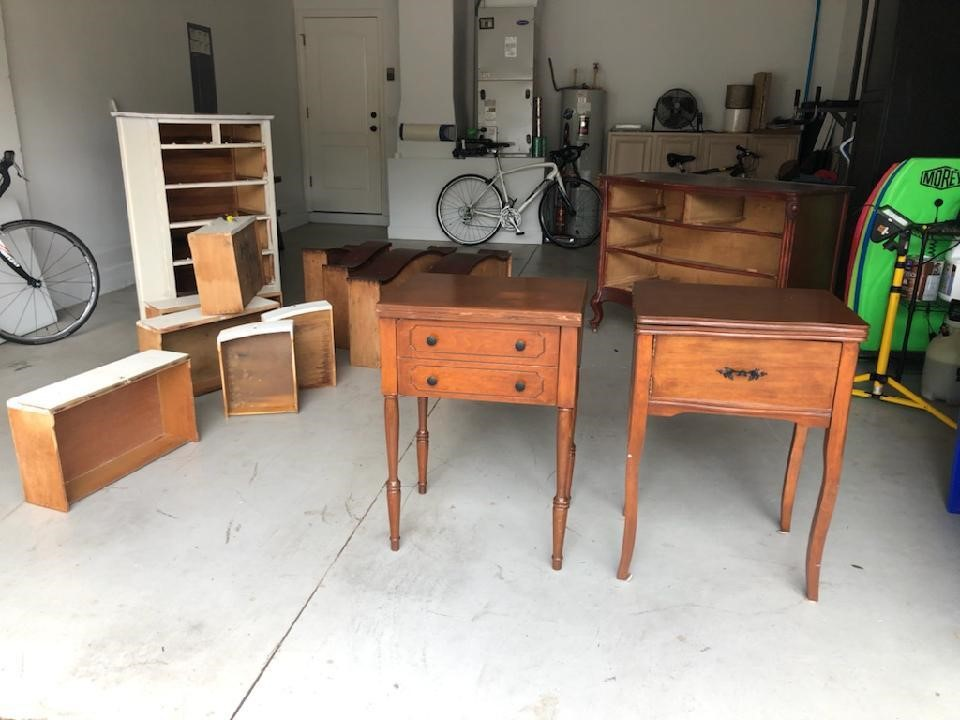 Well-made, sturdy vintage furniture ready for some refinishing