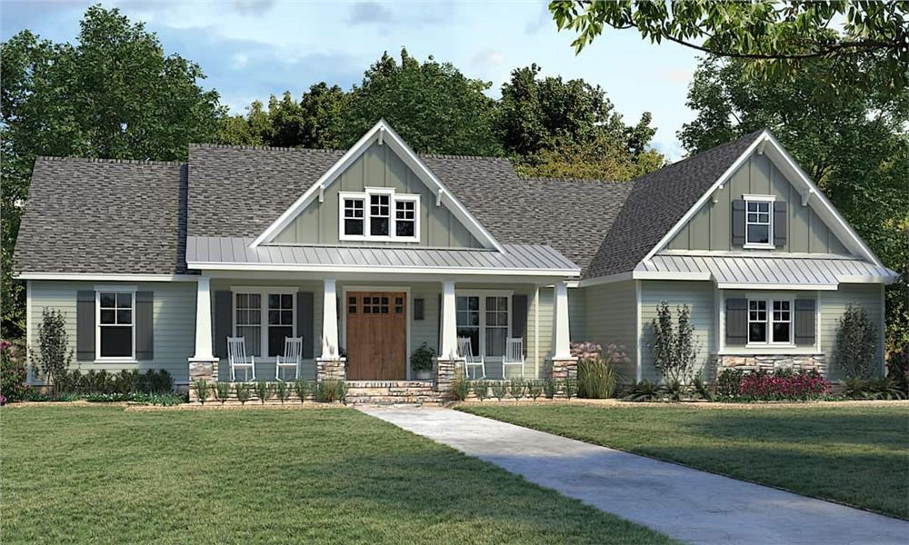 Country Ranch style home with wide covered front porch with standing-seam metal roof