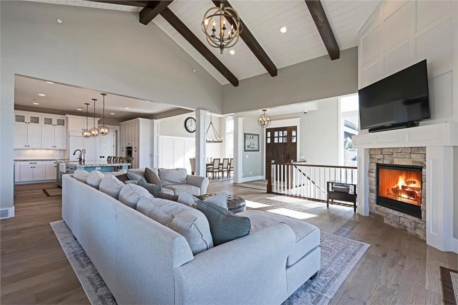 Beautifully designed Great Room of a 4-bedroom, 4.-5-bath Ranch style home