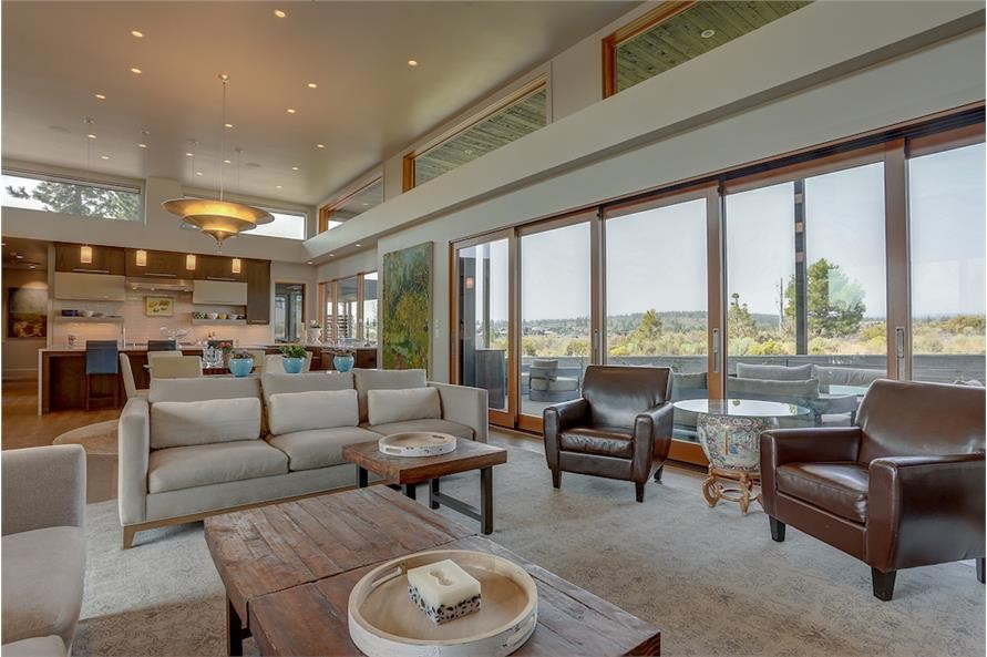 Great Room with high ceiling and transom windows in a mid-century modern home