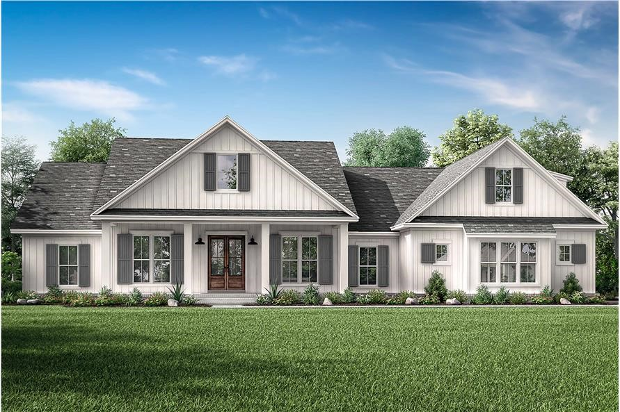 Modern Farmhouse with neutral color scheme, front porch, vertical siding, and multi-pane windows with shutters