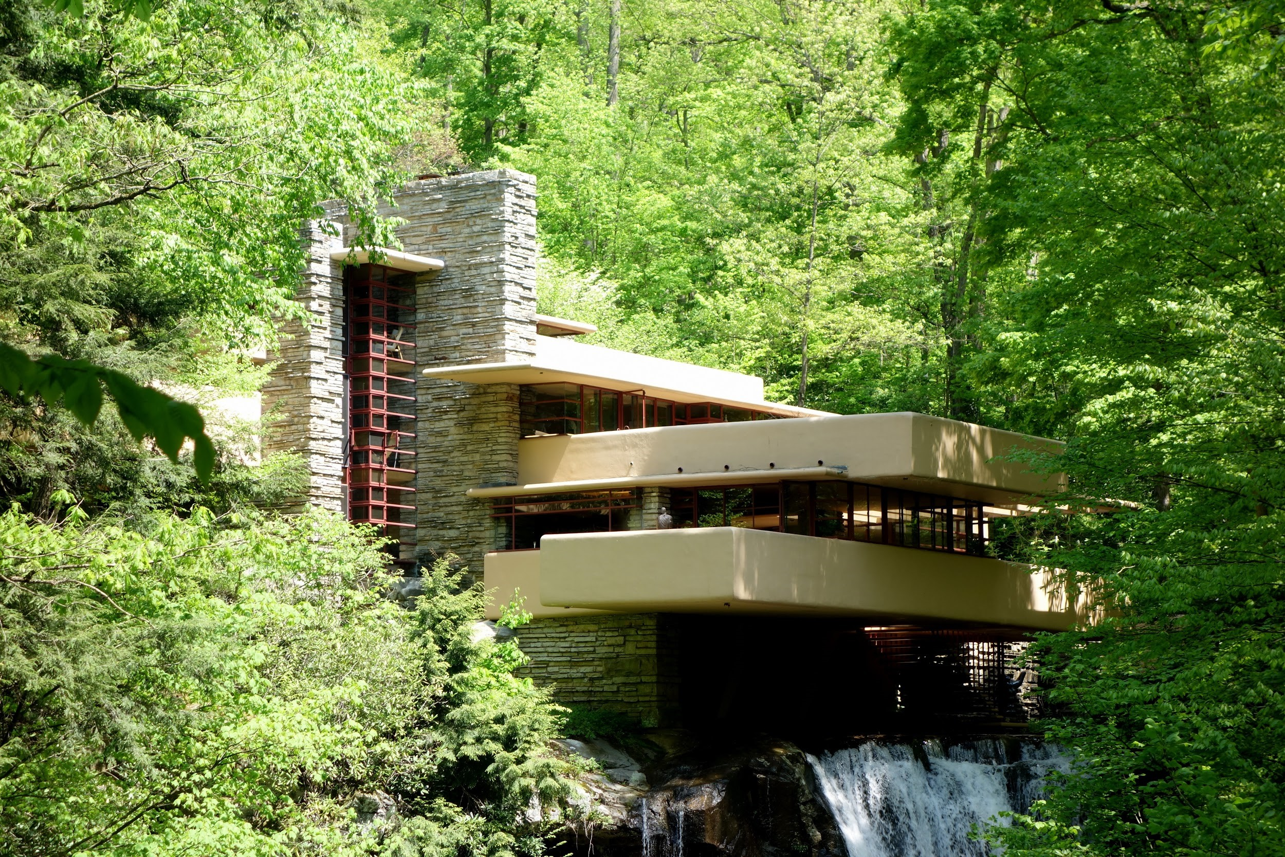 Fanrk Lloyd Wright's Fallingwater in Pennsylvania seen in closeup