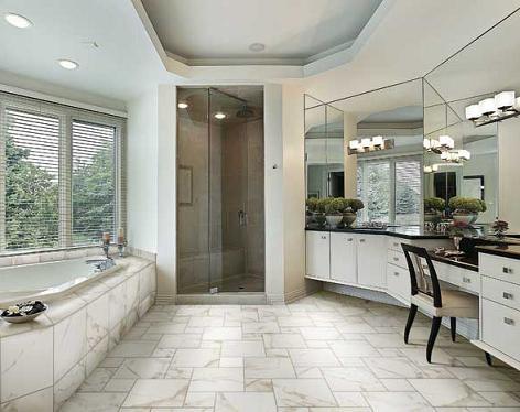 Bathroom with porcelain tile floor