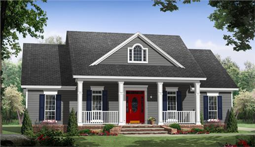 Gray Ranch style home with red front door