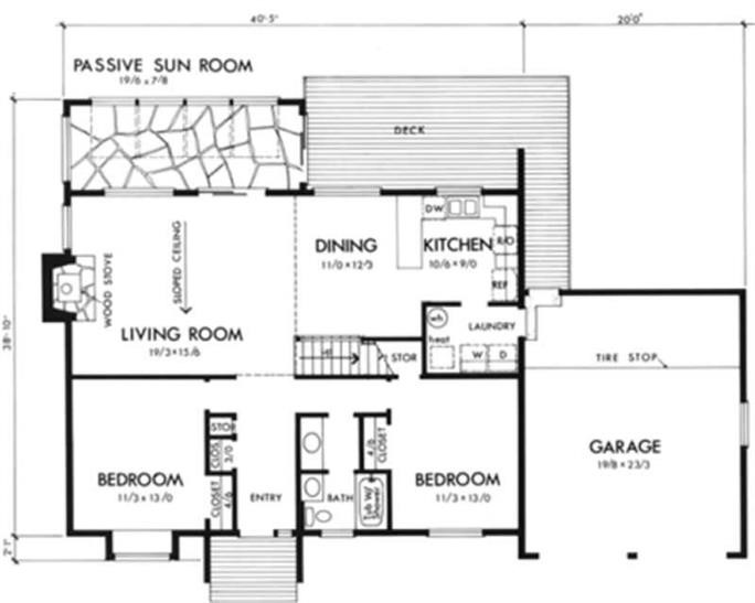 Main level floor plan of Contemporary home - plan #146-1641