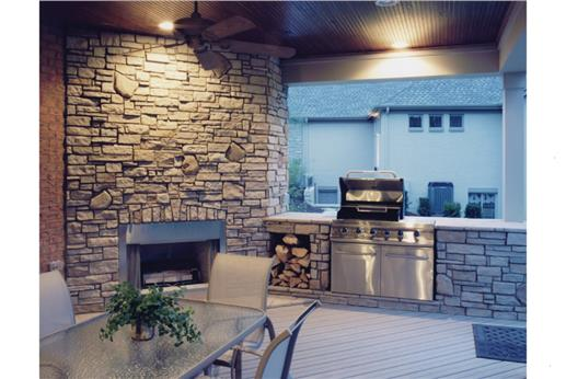 A Basic Four Burner Grill Is Built Into One Side Of The Rear Deck Of This  3 Bedroom Craftsman Ranch Style House Plan. Check Out How The Space Is  Utilized ...