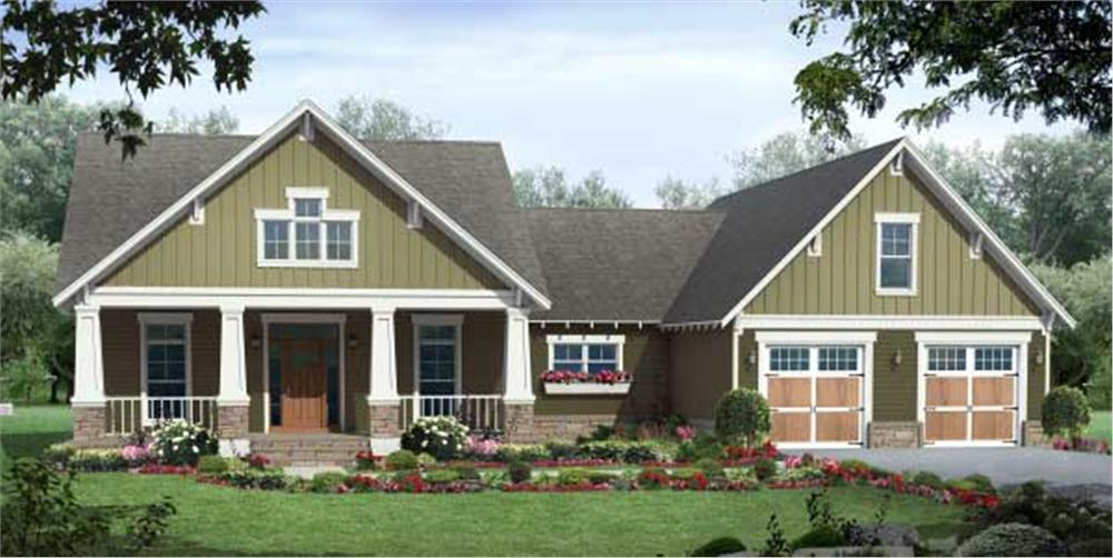 Foundation landscaping for this 1-story, 3 bedroom Craftsman-style home plan exhibits symmetry