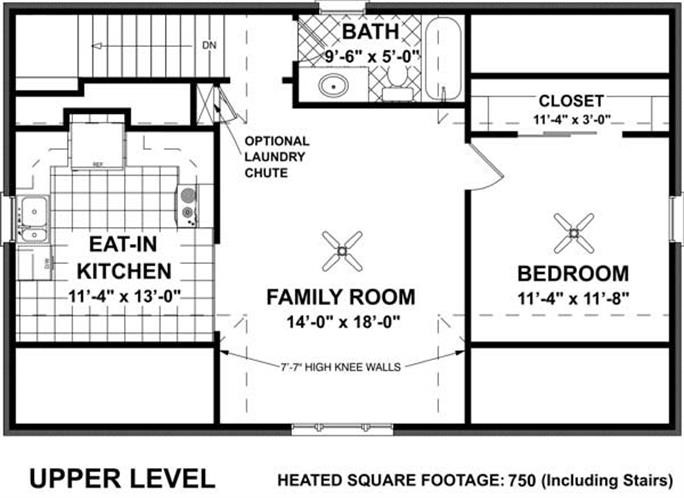 Second-story floor plan of garage with apartment house plan #109-1001