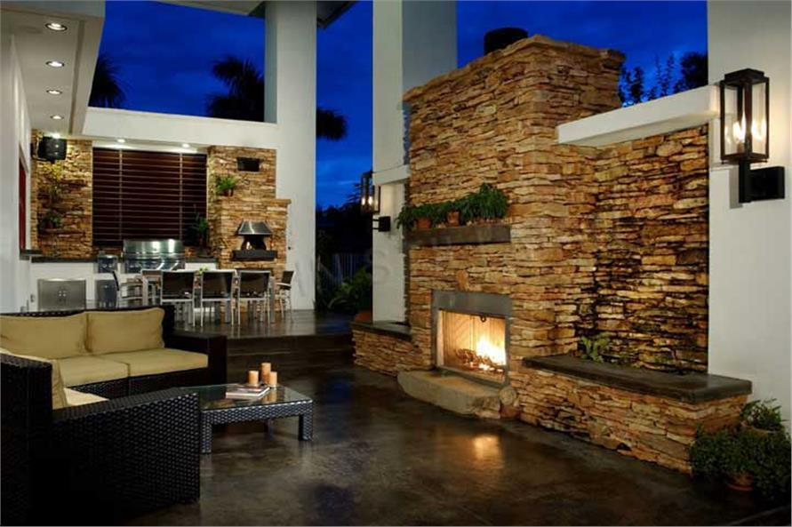 Outdoor living area in House Plan #107-1015
