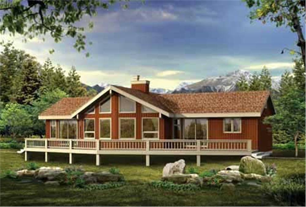 1-story contemporary ranch home with lots of glass and a full-width rear deck