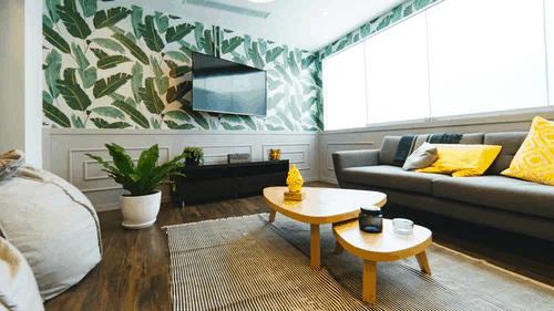 Contemporary living room with leaf-motif wallpaper that complements the houseplant in the room
