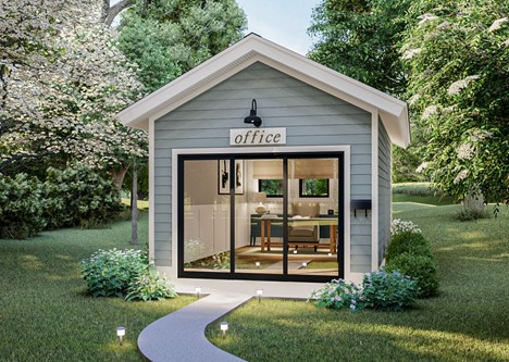 Shed with gable roof, blue clapboard siding, and sliding glass door