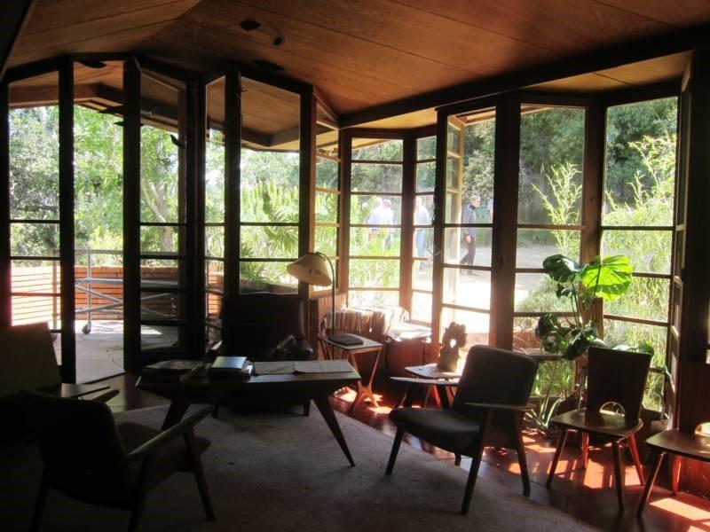 Interior of the Frank Lloyd Wright-designed Bazett House in Hillsborough, CA