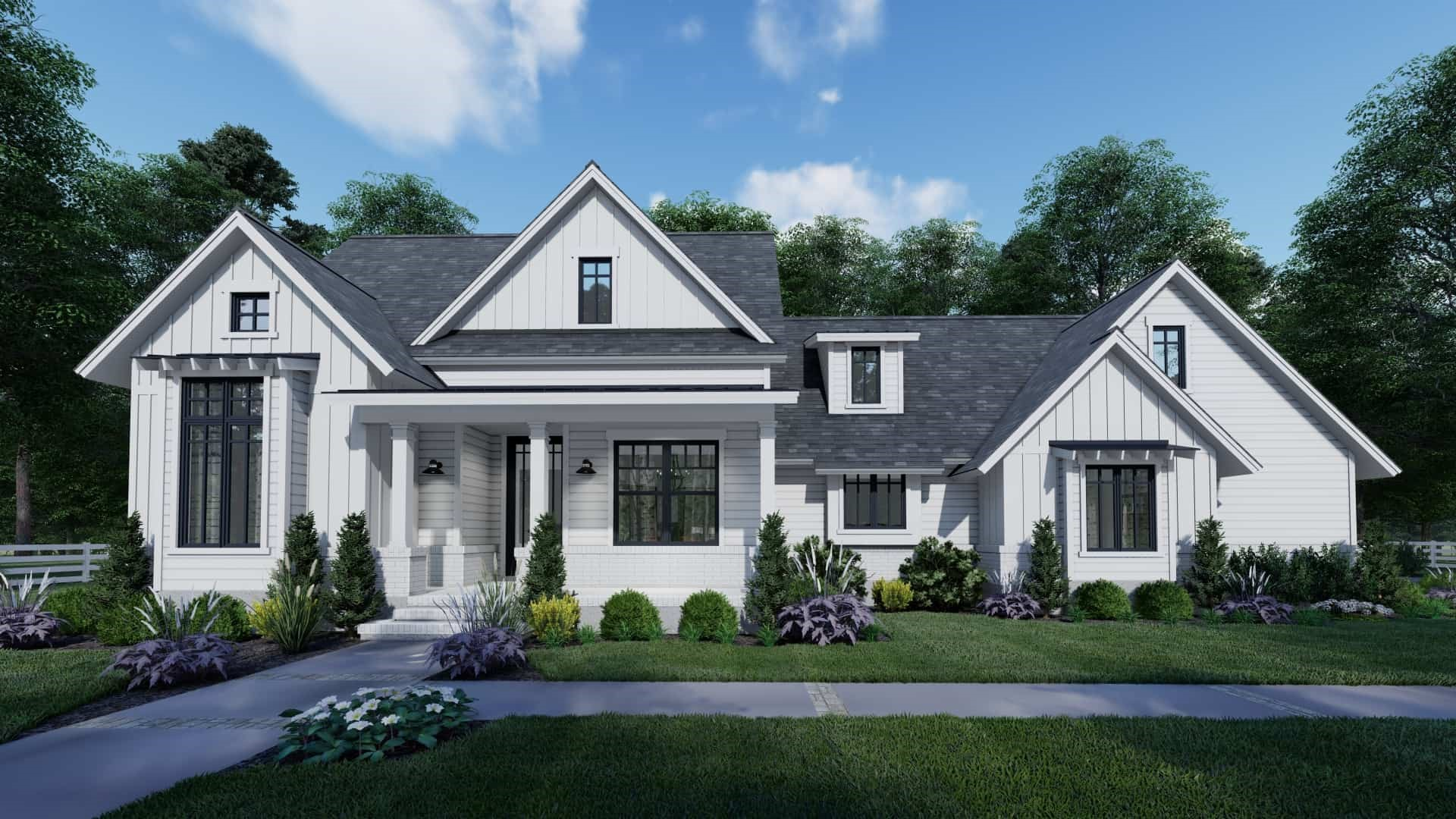 White on white Country style home with contemporary look