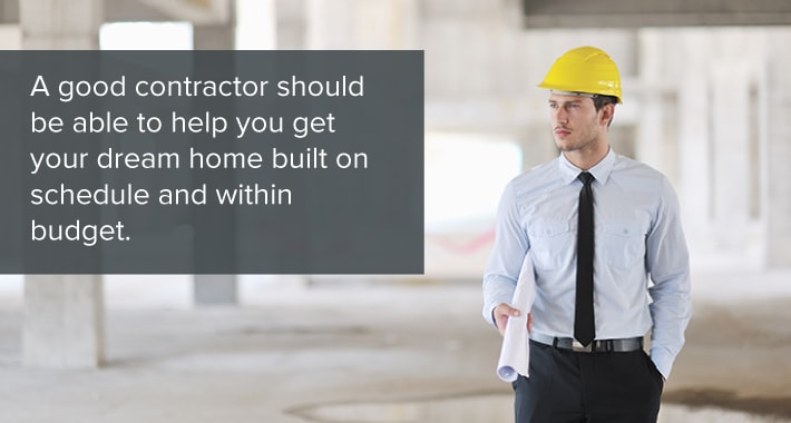Photo of a contractor holding blueprints with a label explaining what a contractor can do for you