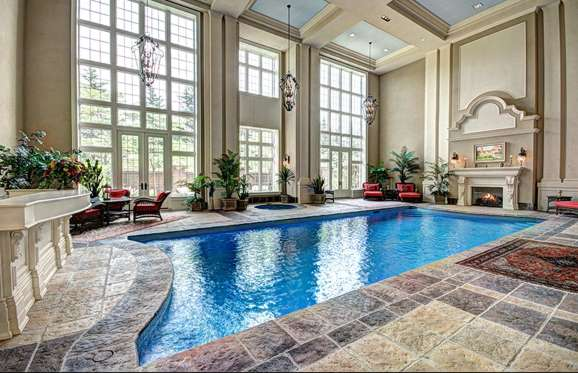 Indoor swimming pool in Chelster Hall, Oakville, Ontario, Canada