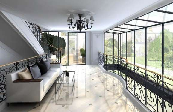 Sunroom in Rue de Bourgogne mansion in paris