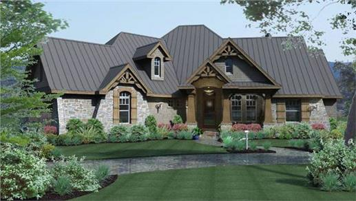 Cottage-style home with Craftsman details (plan #117-1103)