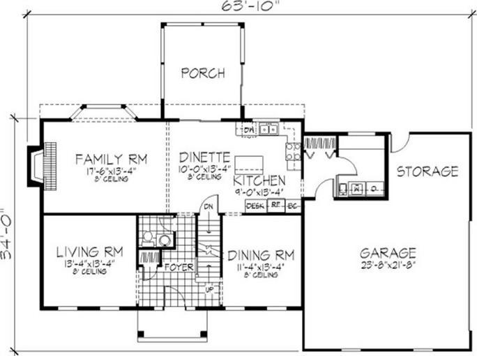 Main level floor plan of Georgian plan #146-1263