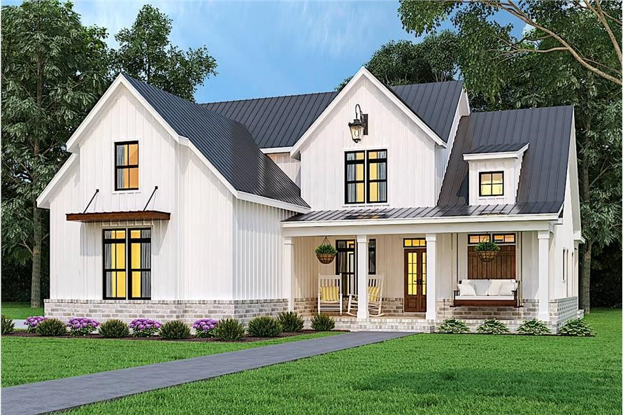 Modern Farmhouse with a charming front porch and hanging lantern in the right-side front gable