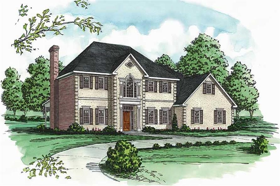 Elegant Federal style home with stucco front and brick sides